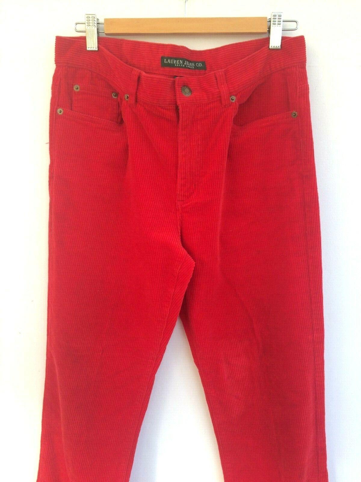 Ralph Lauren Rouge en Velours Côtelé Jeans Coupe Droite grand Cordon Pantalon US8 12 40