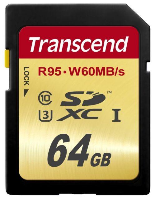 Transcend 64GB U3 UHS1 SD SDHC SDXC Memory Card - 95MB/s For Digital Camera