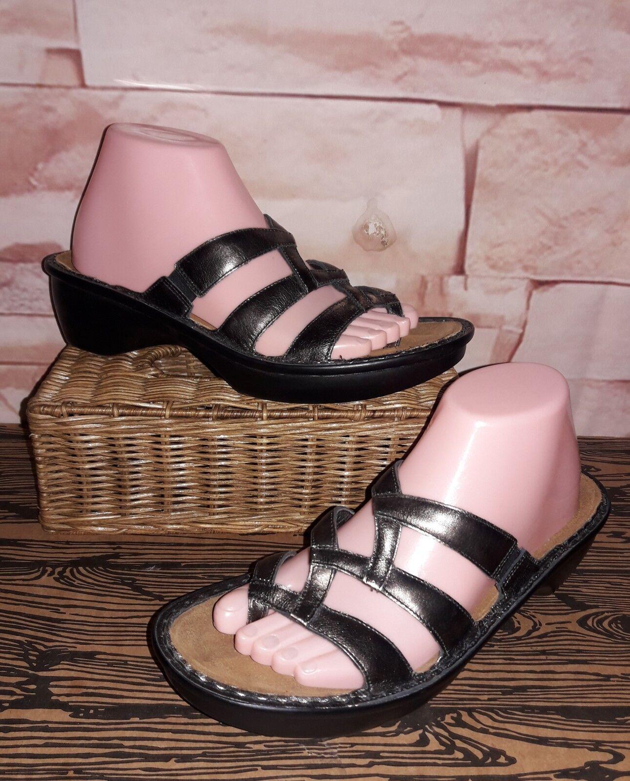 NAOT Silver Metallic Leather Criss Cross Slide Sandals Sz Euro 40 US 9 NWOB