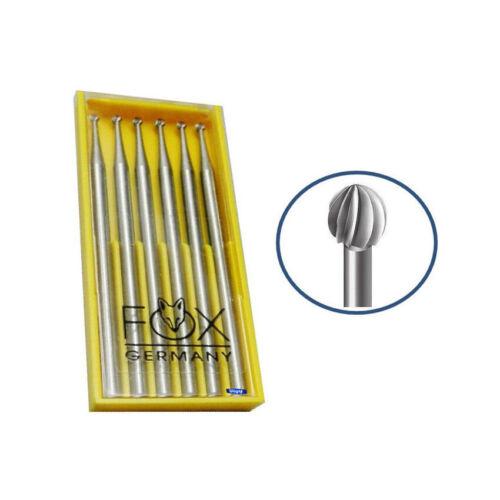 .05mm Pkg of 6 Vanadium Steel Jewelry Tool Made In Germany Fox Round Bur 005