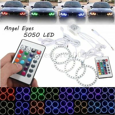 4x Mul-color RGB 80MM 5050 SMD LED Flash Angel Eye Halo Ring Lamp Remote Control