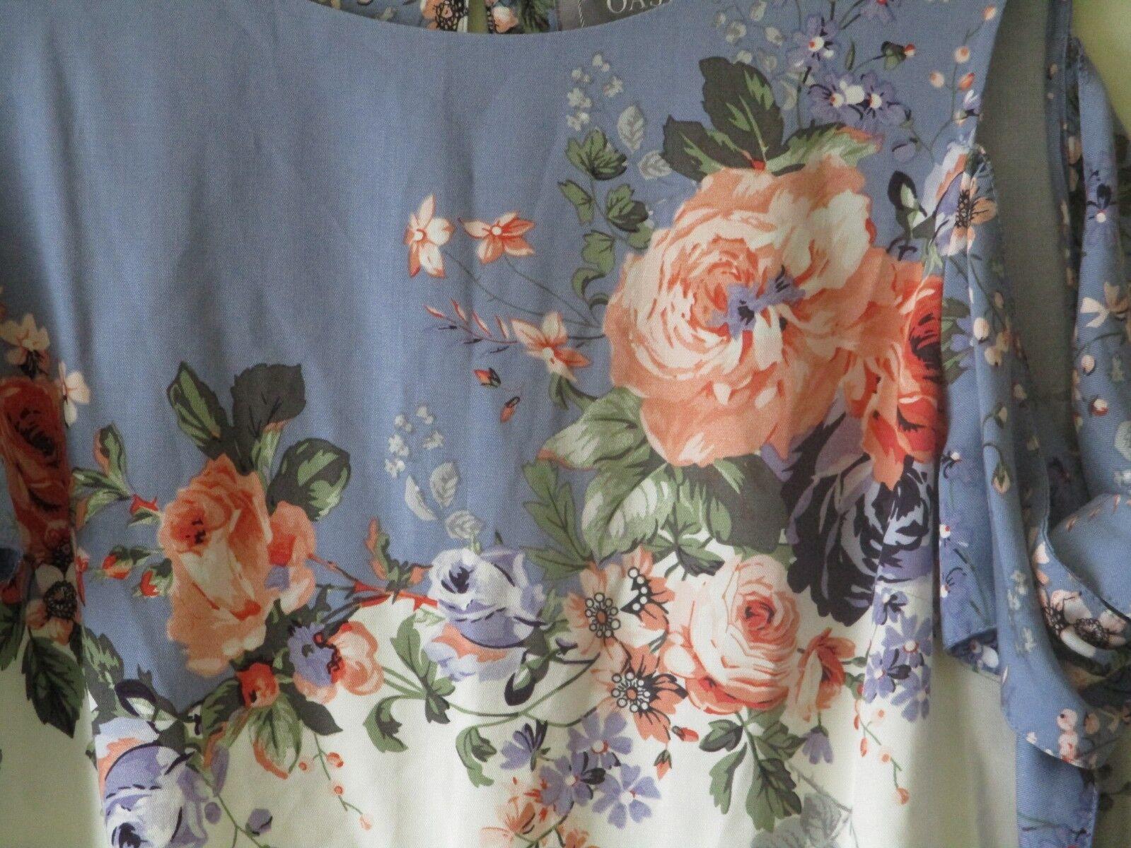 Top blu Oasis Camicetta CORALLO Provence rosa Cravatta Freddo Freddo Freddo Spalla SZ 8 NUOVI be6891