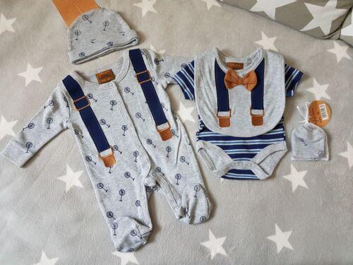 Gentleman Strampler Schlafanzug Pyjama Body Lätzchen Mütze 5-tlg Baby Set 50-68