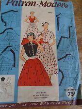 ANCIEN PATRON ECHO DE LA MODE French Pattern 1950 3 VERSIONS ROBE ELEGANTE 44