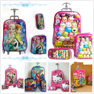 Kids 6D 3 Piece Hand Luggage Trolley Set Cabin Travel Holiday ... 6716f461ce