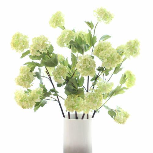 Stem of 4 Green Artificial Snowball Hydrangea Viburnum Spray Faux Silk 82cm