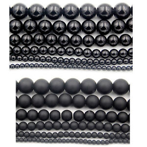 Black-Agate-Round-Loose-Beads-15-5-039-039-Smooth-amp-Frosted-4mm-6mm-8mm-10mm-12mm