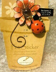 BUG PATCH Butterfly Pot Sticker Metal//Glass Sunset Vista Plant Pick Glitter 3D