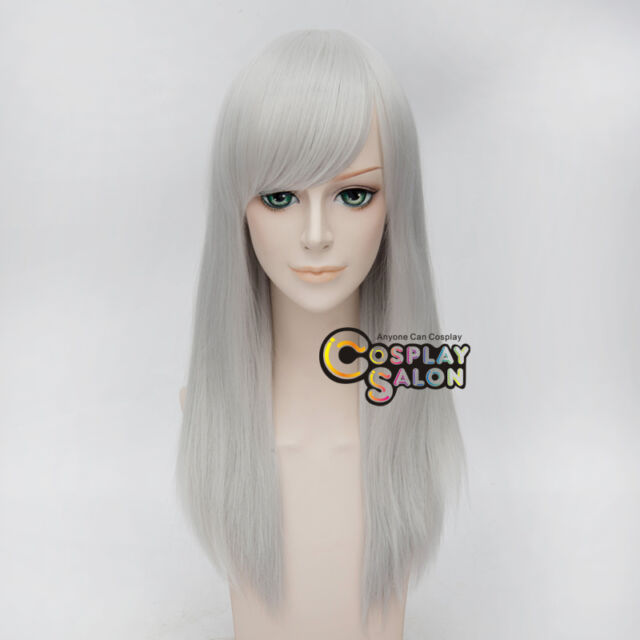 Cosplaysalon Wigs 55cm Straight Heat Resistant Silver White Anime Cosplay Wig