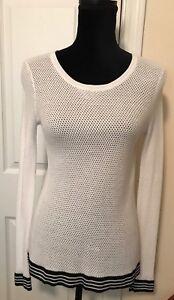 db8f5421ac2e5 RAG   BONE Womens White Net Mesh Stitch Knit OPEN BACK SWEATER XS ...