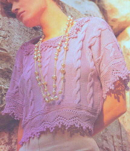 """42/"""" Knitting Pattern Cable Top in DK Cotton with Fancy Collar /& Borders 32/"""""""