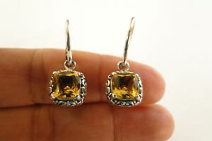 Square-Yellow-Citrine-Solitaire-925-Sterling-Silver-Dangle-Drop-Earrings