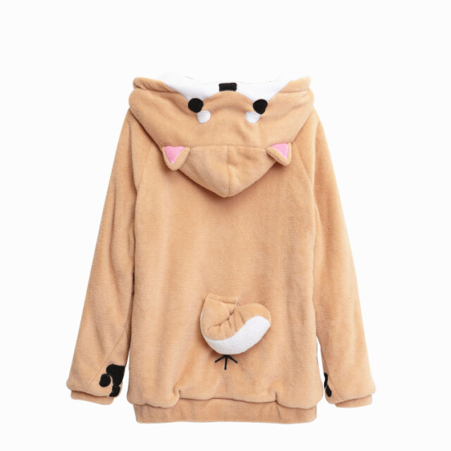 Cuper Cute Doge Muco Winter Plush sweater Unisex Long Sleeve Coat Hoodie