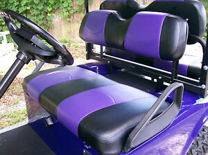 club car ds 39 00 up golf cart deluxe seat covers front and rear black purple. Black Bedroom Furniture Sets. Home Design Ideas