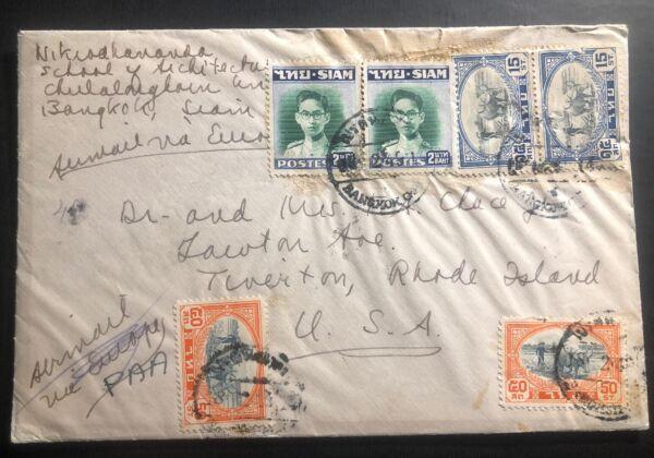 1949 Bangkok Thaïlande Airmail Cover To Tiverton Ri Usa