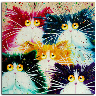 Cats Colorful Paint By Numbers Kits DIY Number Canvas Painting Hand Painted Cat