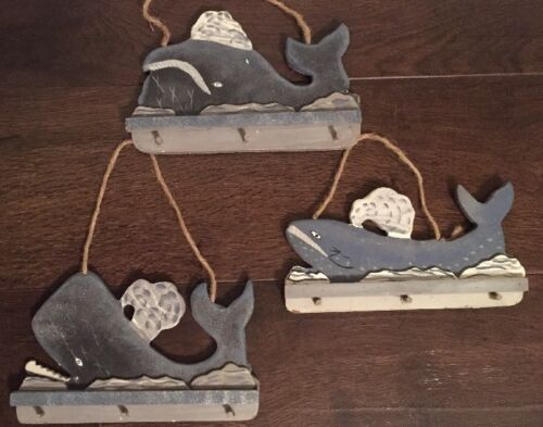 Wooden Whale Wall Hanging  Distressed Deco Handmade