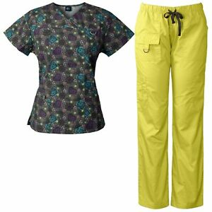 f3d151aa9f0 Medgear Women's Scrubs Set Multi-Pocket Top & Pants, Medical Uniform ...