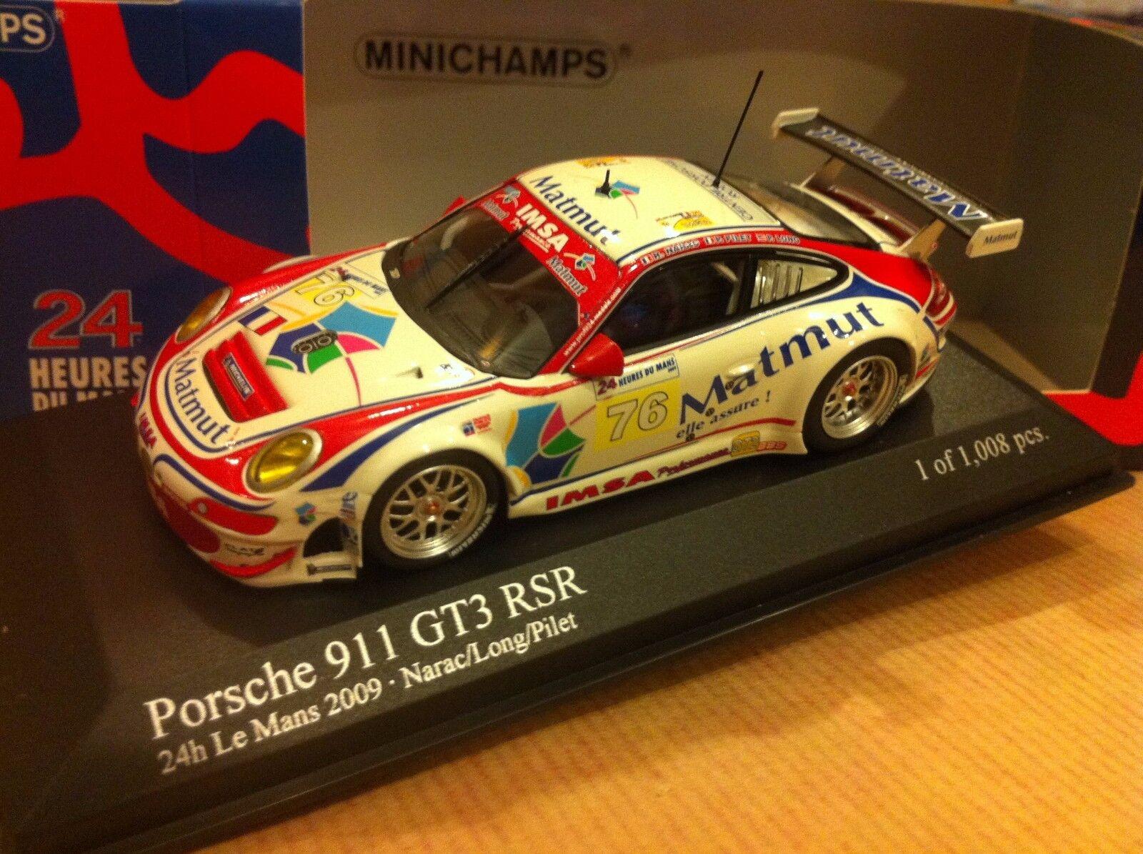 PORSCHE 911 GT3 RSR   LE MANS 2009 N°76 MATMUT NARAC   MINICHAMPS PROMO