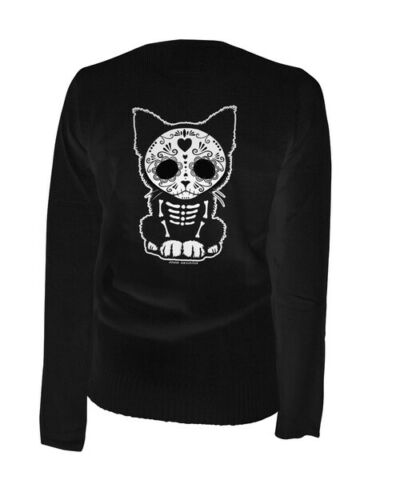 Details about  /NEW WOMENS Aesop Originals DAY OF THE DEAD KITTEN Cardigan BLACK XSMALL-4XLARGE