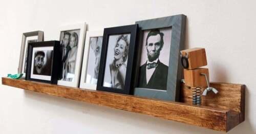 shelves picture ledge Oak finish,wood floating photo shelf home display,