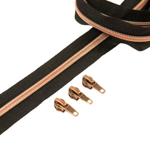 1 Meter plus 3 Zipper Reißverschluss kupfer 6,5 mm Raupe