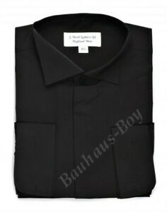 84a5515f9a62 BLACK SHIRT VICTORIAN SPLAY COLLAR HIGH WING DRESS ALL SIZES FORMAL ...