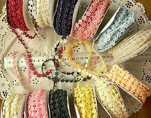 FLORAL-String-of-Pearls-Choice-of-12-Colours-8mm-Across-2-amp-3-Metres-HWPF