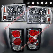 2000-2004 FORD EXCURSION CLEAR HEADLIGHTS w/ LED 1PC STYLE + CHROME TAIL LIGHTS