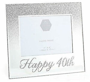 Glass 6 x 4 Photo Frame with Mirror Glass /& Glitter Letters Family
