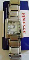 Finesse Women's Silver Watch Square White Dial Roman Numerals Designer Style