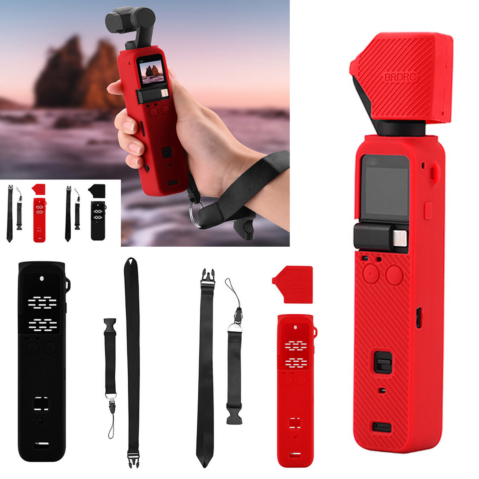 Silicone Case Body Protection Shell Lens Lanyard for Osmo Pocket 2 Gimbal Camera