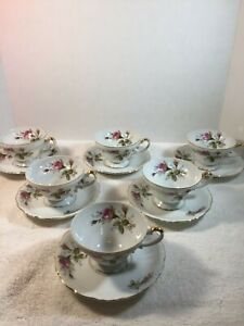 Vintage-Ucagco-China-Set-of-6-Tea-Cups-amp-Saucers-Made-In-Japan