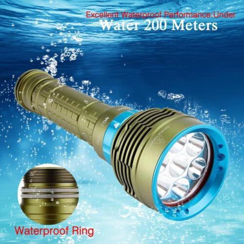 Underwater 200m 20000LM 7xXM-L2 LED Flashlight Scuba Diving Flashlight Torch New