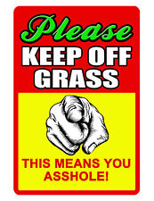 KEEP OFF GRASS Sign NO TRESPASSING SIGN DURABLE ALUMINUM FULL COLOR NO RUST