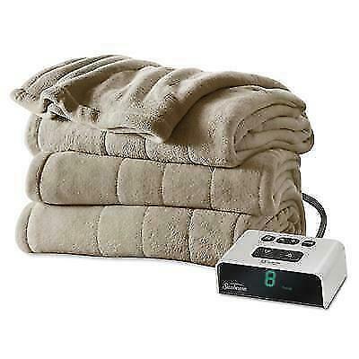 New Sunbeam Channeled Microplush Heated Blanket - Mushroom,