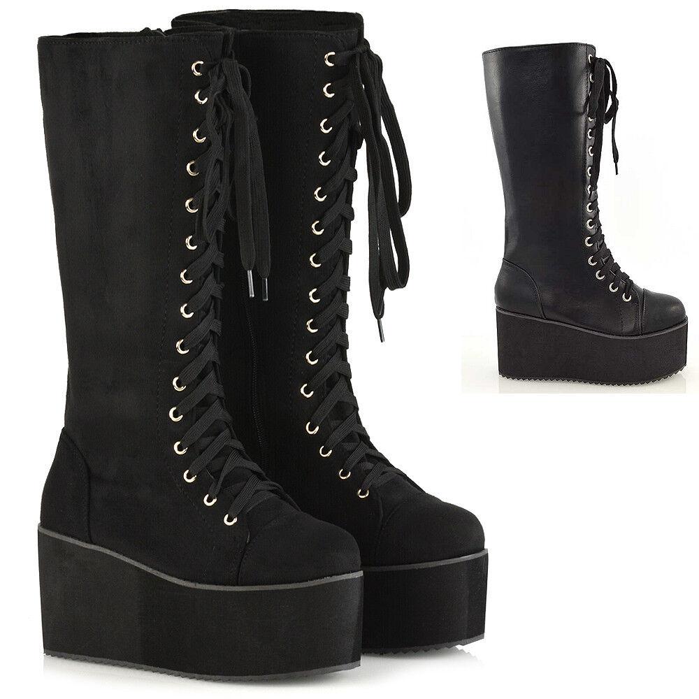 Ladies Knee High Wedge Heel Platform Womens Punk Goth Lace Up Biker Boots Size