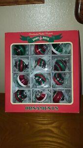 Christopher Radko Shiny Brite Glass 1.75 R/&S Christmas Tree Ornaments Box 12 NEW