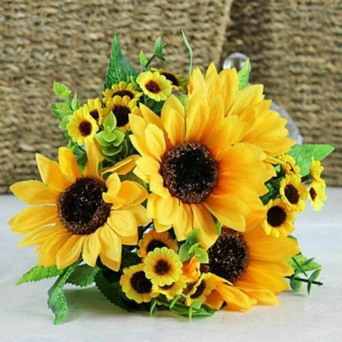Fake Sunflower Artificial Silk Flower Decor Bouquet Home Floral Ornament