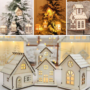 DIY-LED-Light-Wood-House-Christmas-Tree-Hanging-Ornaments-Holiday-Decorations