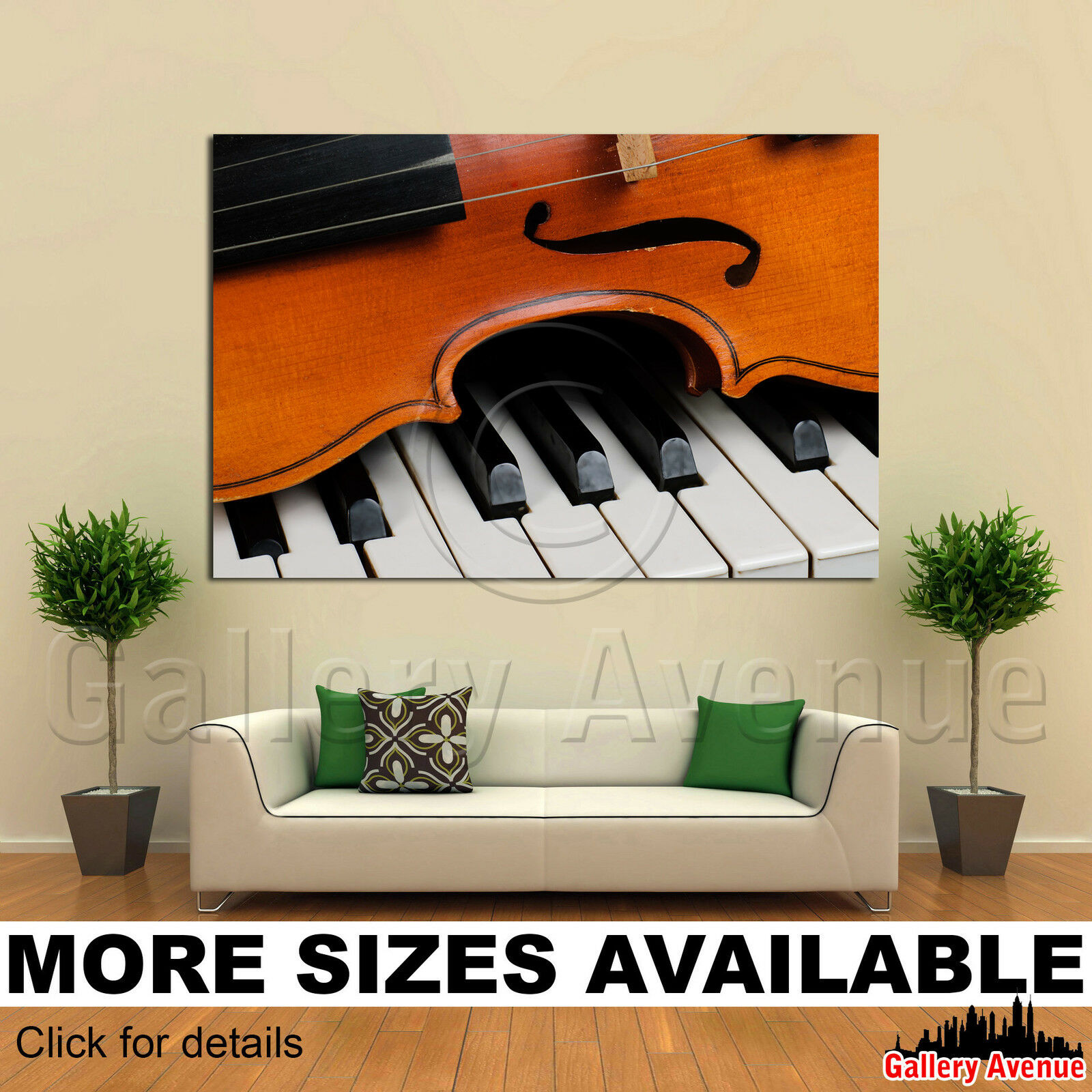 A Wall Art Canvas Picture Print - Violin Piano Close-up 3.2