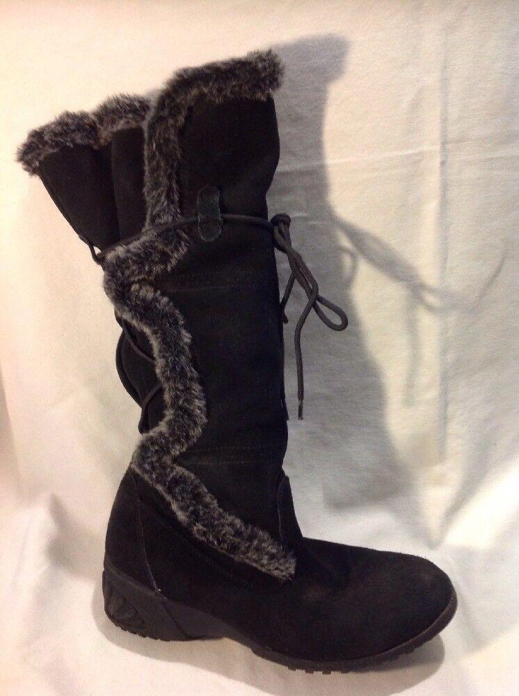 Khombu Black Knee High Suede Boots Size 7M Uk5