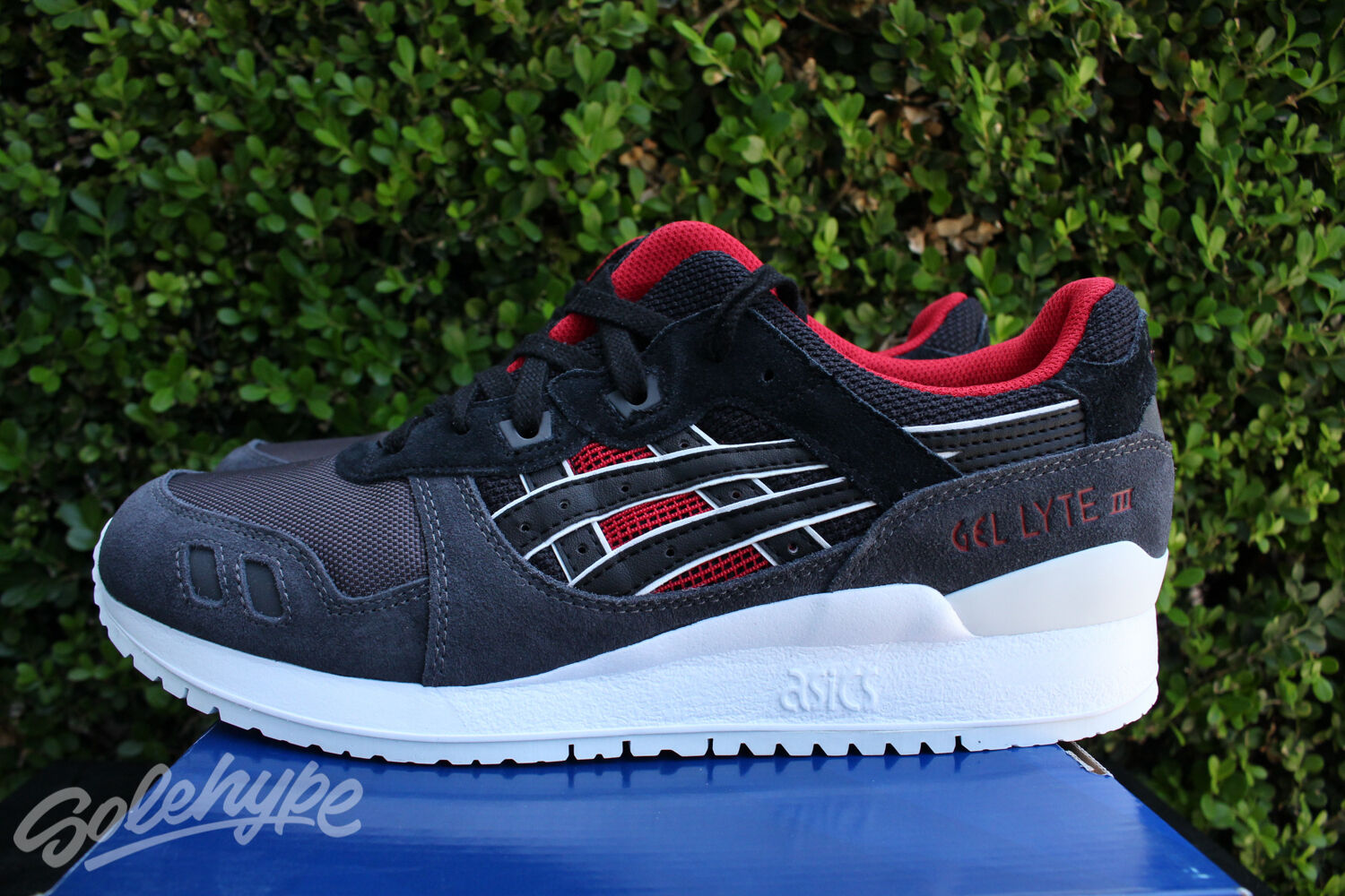 ASICS GEL LYTE III 3 SZ BLACK RED GREY WHITE H6X2L 9090