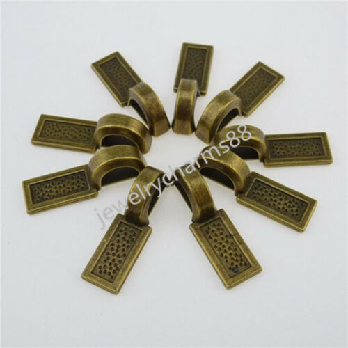 12606 20PC Bronze Rectangle Tag Glue on Bails Setting Bail FOR Necklaces Pendant