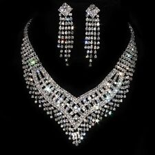 Wedding Brides Jewelry Sets Silver Crystal Rhinestone Tassels Necklace & Earring