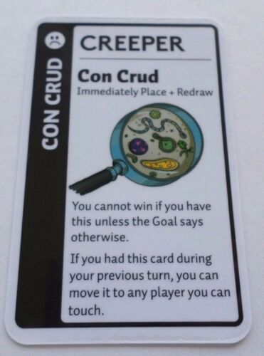 Con Crud Creeper Card for Fluxx Card Game Looney Labs Place and Redraw