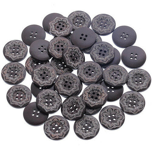 Scrapbooking 25 mm Sewing Dark Brown  Buttons FLOWER Wood Crafting