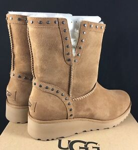 Image is loading UGG-Chestnut-CYD-Studded-Grommet-ANKLE-WEDGE-SHEEPSKIN-