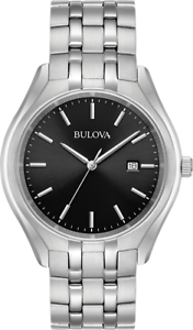 Bulova-Men-039-s-96B265-Quartz-Black-Dial-Silver-Tone-Bracelet-41mm-Watch