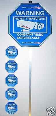 2 Security Sign & 8 Window Stickers, Alarm & video surveillance Yard Sign